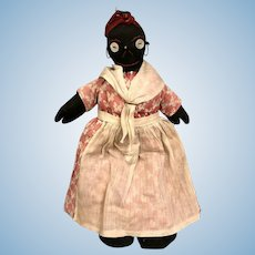 14 Inch Antique Handmade Black Cloth Mammy doll Embroidered face Dressed