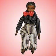 Antique 8.5 Inch Black Bisque Man Doll Molded Hair, Elaborate Sculpting c.1900