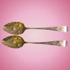 2 George III 1786 to 1821 Large Sterling Fancy Serving Spoons
