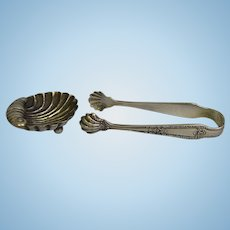 4 inch Glasgow Lion Sterling 1888 Sugar tongs and Shell Dish