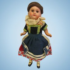 5.5 inch Early AM 390 Germany HESSE c1915 All Original Costume, Glass Eyes