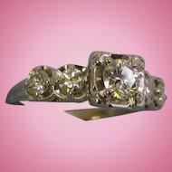 14k White Gold 5 Stone Diamond Engagement Ring .87tcw size 7 .40 Carat Center
