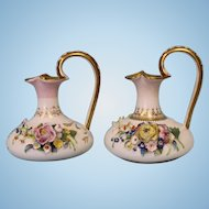 Pair of Ewers 6 inch English Crown Derby with applied flowers Circa 1830