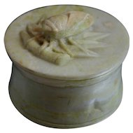 Vintage Chinese Soapstone Seal Paste Box with Cicada Finial