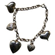 Sweet Vintage Puffy Heart Charm Bracelet in Gold Tone