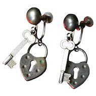 Rare Vintage Heart Padlock and Key Earrings, Circa 1940's.