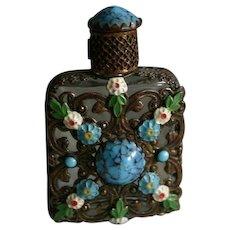 Lovely Vintage Czechoslovakia Enamel and Jeweled Miniature Perfume Bottle