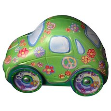 Vintage VW LOVE BUG Beetle Car Figural Tin Box