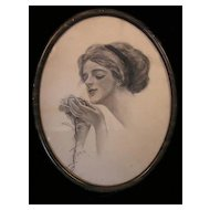 "Edwardian Pencil Drawing After Harrison Fisher's ""ROSE"""