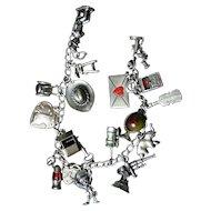 Fabulous 1940's Mechanical Sterling Silver Charm Bracelet Charley McCarthy Love Letter