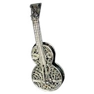 Vintage Silver Filigree Guitar Brooch Pin