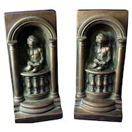 Art Nouveau Chalkware Bookends with Charming Cherub Angels Reading in Alcove