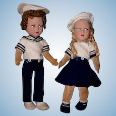 Extremely Rare Pair of Vintage English FARNELL Felt Sailor Dolls Boy and Girl