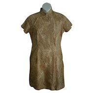 Lovely Vintage Chinese Cheongsam Cocktail Dress in Guipure Ecru Lace Size Small
