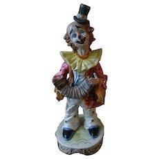 Charming Large CAPODIMONTE Italian Porcelain Clown Playing Accordion