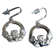 Sterling Claddaugh Hands and Heart Dangle Earrings
