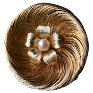 Stunning MID CENTURY Spun Gold Floral Pin with Cultured Pearl