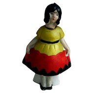Adorable Art Deco German Girl Dollhouse Bisque Nodder
