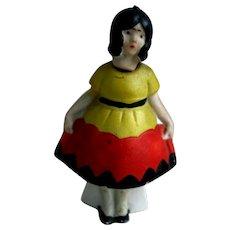 Adorable Art Deco German Girl Dollhouse Bisque Nodder