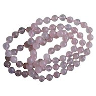Perfectly Pink VINTAGE Rose Quartz Hand Knotted Strand of Beads