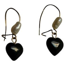 Lovely Heart Shaped Onyx and Freshwater Pearl dangle earrings in 14k