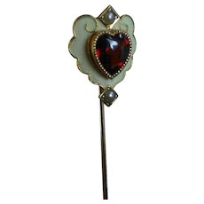 Exquisite Antique Victorian Heart Shaped Garnet, Enamel, Seed Pearl Stick pin in 14k Gold