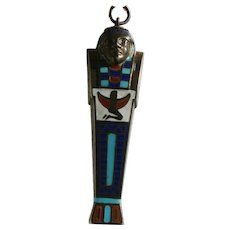 Egyptian Revival Silver and Enamel Mummy Mechanical Propelling Pencil