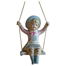 Victorian Bisque Figural Doll Swinger for Oil Lamps