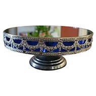 Rare and Unusual SHEFFIELD Silverplate Mirrored Pedestal Cake Stand with Cobalt Liner