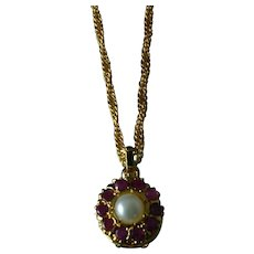 Vintage Ruby and Pearl Pendant Necklace in Gold Vermeil