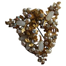 Spectacular ORIGINAL BY ROBERT Baroque Pearl and Rhinestone Statement Brooch