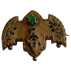 Fine Victorian Taille D'epargne Watch holder Brooch with Natural Emerald set in 14k Gold