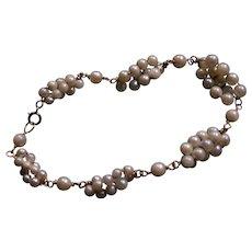 Vintage Estate Cultured Pearl and 14k Gold Bracelet
