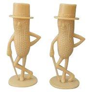 Vintage MR. PEANUT Figural Salt and Pepper Shakers, circa 1940 Advertising Memorabilia