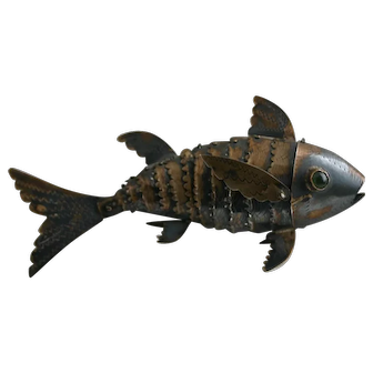 Vintage Sterling Articulated Figural Fish Figurine with Jeweled Eyes