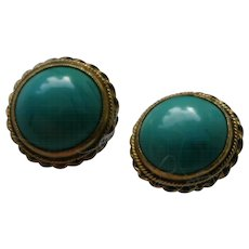 Victorian  Etruscan Revival Turquoise Cabochon Earrings in 14k Gold with Daisy Wheel Screw Ons