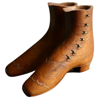 Fine Pair of Vintage Handcarved Victorian Ladies Boots Wooden Treen Miniature