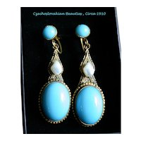 Very Fine Pair of Art Nouveau Czechoslovakian Blue Glass and Pearl Earrings