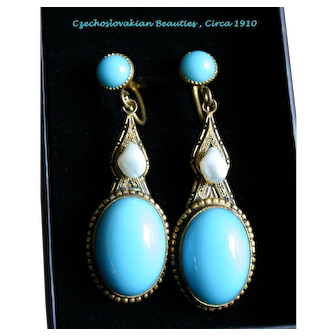 Very Fine Pair of Art Nouveau Czechoslovakian Blue Glass and Pearl Earrings