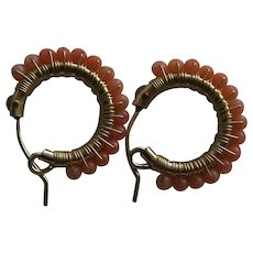 Sweet Vintage Natural Coral Beaded Hoop Earrings