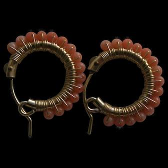 Sweet Vintage Natural Coral Beaded Hoop Earrings