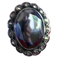 Gorgeous Antique Art Deco Black Alaskan Diamond Hematite Cocktail Ring