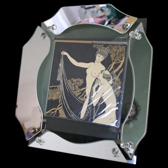 Rare American ART DECO Sculptural Mirrored Table Frame