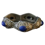 Chinese Export Fine Sterling Filigree and Lapis Bracelet