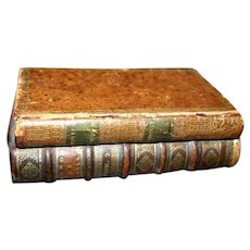 French Antique Leather Book Sewing Box Trompe L'Oeil