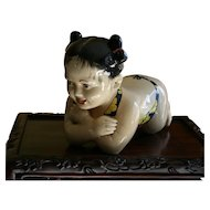 Adorable Vintage Chinese Porcelain Baby Girl Opium Pillow