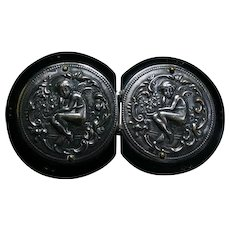 Lovely ART NOUVEAU Era Silver Repousse Cupid Buckle on Black Celluloid Disks