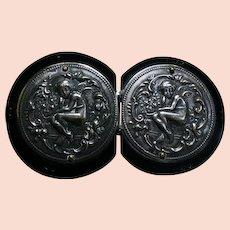 Lovely ART NOUVEAU Era Silver Repousse Cupid Buckle on Black Celluloid Disks