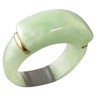 Vintage Chinese Jade and 14k Gold Saddle Ring Size 6