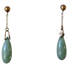 Gorgeous Vintage CHINESE JADE & 14K Gold Torpedo Pendant Earrings